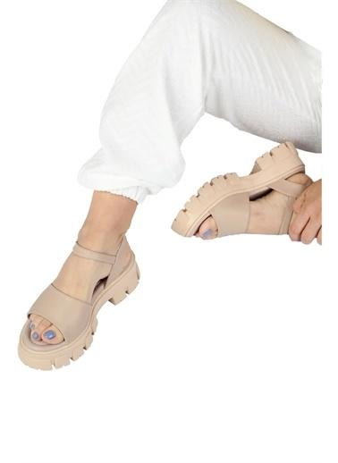 Modabuymus Modabuymus  Kalın nlı Tek Bant Sandalet -Vispo Ten